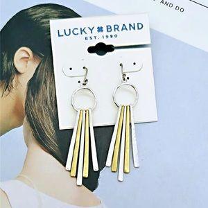 Lucky Brand Two Toned Firework Fringe Earrings
